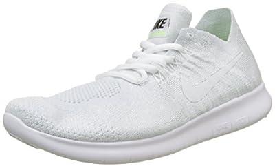 Nike Women's Free RN Flyknit 2017 Running Shoes (6, White/Pure Platinum/Black-M)