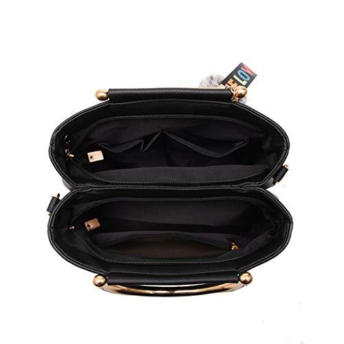 semplice colori Colore tracolla donna Borsa tracolla moda Borsa 26 13cm 18 7 a ricamata NERO a CXpnqwv