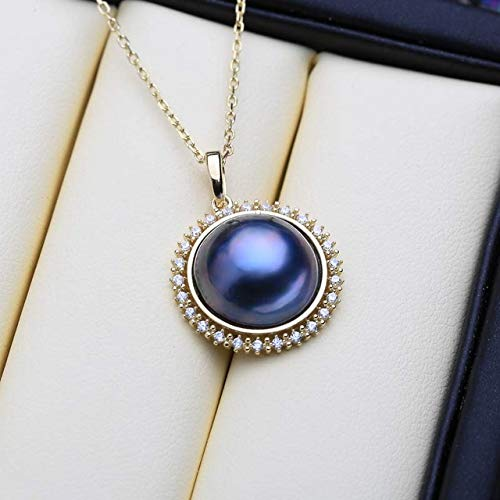 jenna donalyn Necklace for Women - Natural Sea Pearl Pendant Necklace for Women Romantic 925 Sterling Silver Big Size Luxury Pink Blue Black Mabe Pearl - B