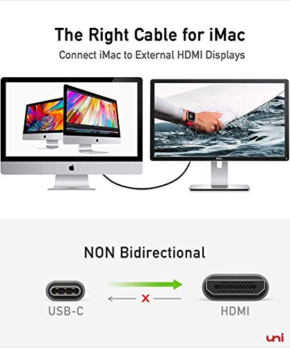 USB C to HDMI Cable for Home Office 6ft (4K@60Hz), uni USB Type C to HDMI Cable, Thunderbolt 3 Compatible with MacBook Pro 2020/2019, MacBook Air/iPad Pro 2020, Surface Book 2, Galaxy S20 and More