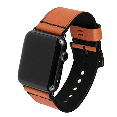 Grit & Grazia Premium Leather Apple Watch Band for 42mm 44mm, Stylish Replacement Vintage Apple Watch Leather Bands for Men iWatch Series 4, Series 3 2 1 with Stainless Steel ()