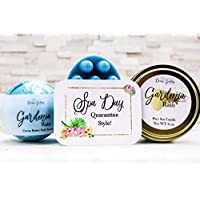 Quarantine Gift for Her - Spa Gift Basket for Women - Massage Soap Bar Luxury Bath Soak Wood Wick Candle Soy