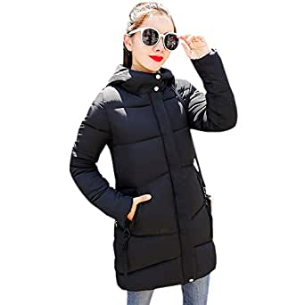 KINDOYO Women Quilted Coat - Winter Slim Overcoat Casual Jacket Hooded Padded Warm Parka Outwear,Black, UK L=Tag XL