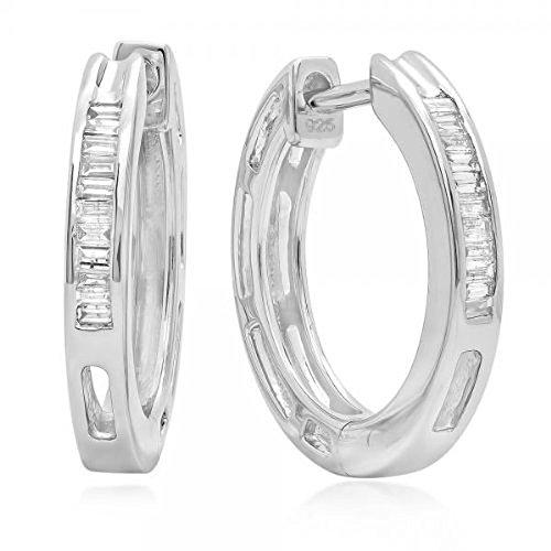 Dazzlingrock Collection 0.13 Carat (ctw) Baguette Cut Diamond Ladies Mens Unisex Huggie Hoop Earrings, Sterling Silver