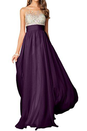 amp;Tuell Linie Chiffon Abendkleid Steine Festkleid Ivydressing Promkleid Rundkragen Traube Lang A Elegant Damen XxBq1