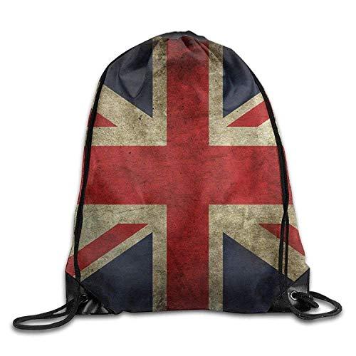 British UK Flag Retro Print Drawstring Backpack Rucksack Shoulder Bags Gym...