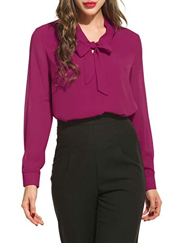 ACEVOG Casual Office Shirts for Women,Hot Pink,Large (Women Hot Office)