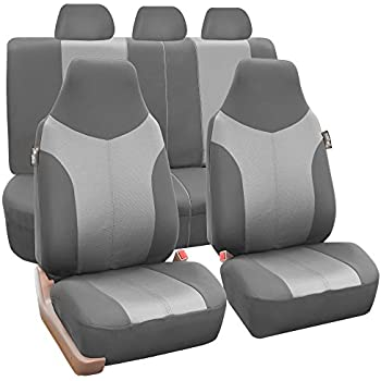 FH GROUP FB101115 Supreme Twill Fabric High Back Full Set Car Seat Covers Airbag And Split Ready Light Dark Gray Color Fit Most Truck Suv Or Van