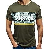 Ballad Men's Casual Fashion Slim Letter Print,Round Neck Short Sleeve Tops T-Shirt (XL, Army Green)