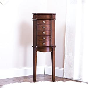 Hives and Honey 6008-578 Erin Armoire with Vanity Mirror and Jewelry Storage, Walnut