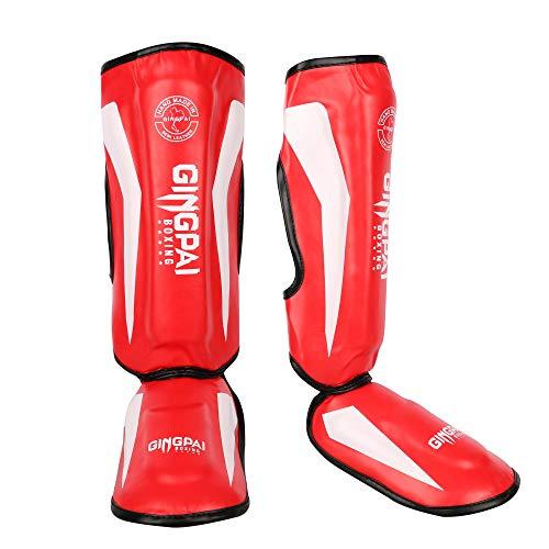 GINGPAI Kickboxing MMA Shin Guards, Boxing Professional Training Shin Pads, Muay Thai Shinguards, PU Leather Instep Leg…