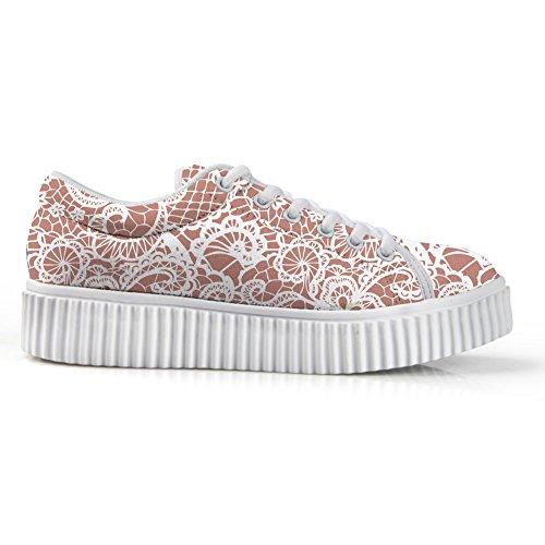 Bigcardesigns Bas Plateforme Haut Mode Couleur Douce Sneaker Skate Chaussure De Marche Rose Blanc