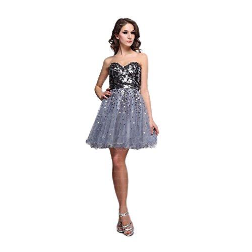 Cocktail Design Kleid Ital Damen Für Mini Festamo Grau EHdExwqZ