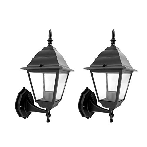 - IN HOME One-Light Outdoor Wall Up Lantern, Exterior Light Fixtures with One E26 Base, Wet Rated, Black Matte Finish Cast Aluminum Housing with Clear Glass Shade, ETL Listed, Twin Pack