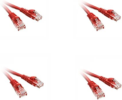 ED692674 Pack of 1 eDragon 2 Cat5e Red Ethernet Patch Cable Snagless//Molded Boot