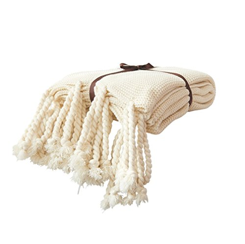 Wool Plush Sweater (Knit Throw Blanket, Household Decorative Tassel Crochet Blanket Rug for Bedroom Sofa/Bed/Couch/Car/Living Room/Office (51.18