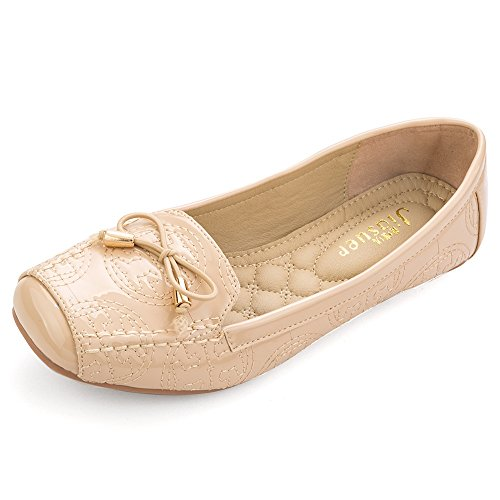 Beige Ballet Flats (Meeshine Womens Square Toe Bowknot Ballet Comfort Slip On Flats Shoes by Beige 8 US)
