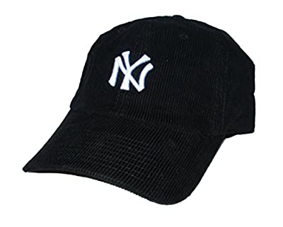 American Needle New York Yankees Corduroy Strapback Adjustable One Size Fits Most Hat Cap - Black from Outerstuff Ltd.