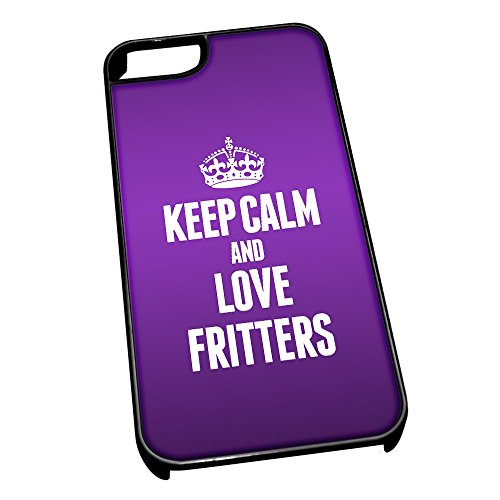 Nero cover per iPhone 5/5S 1100viola Keep Calm and Love Fritters