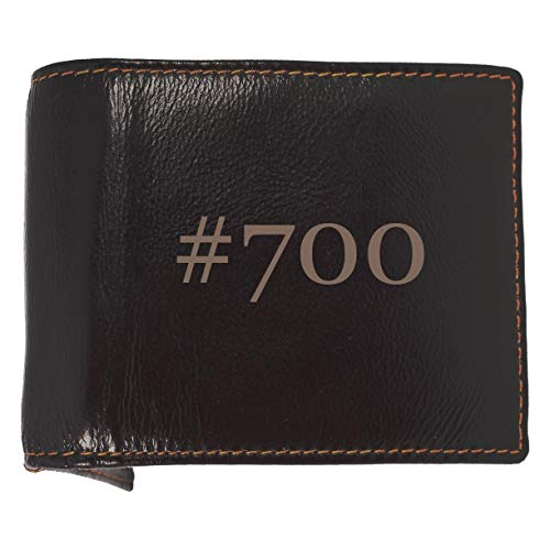 #700 - Soft Hashtag Cowhide Genuine Engraved Bifold Leather Wallet