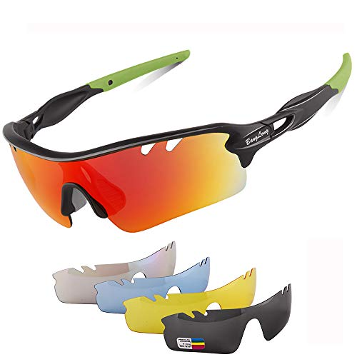 Polarized Sports Sunglasses for Men Women with 5 Interchangeable Lenes for Cycling Sunglasses Running Baseball Golf Softball ()