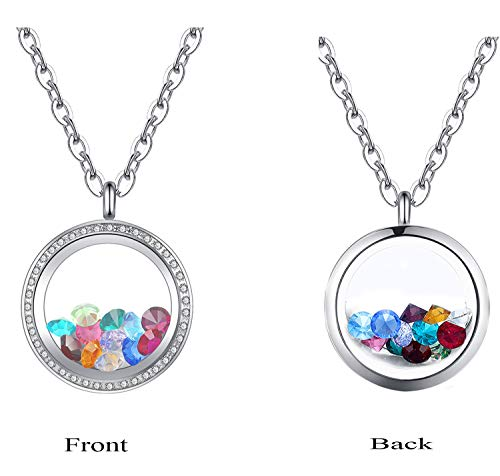 Mesinya Memorial Keepsake Floating Charm Toughened Glass Locket Pendant Necklace with Chain (30mm Micro Pave Setting Birthstone Necklace) -