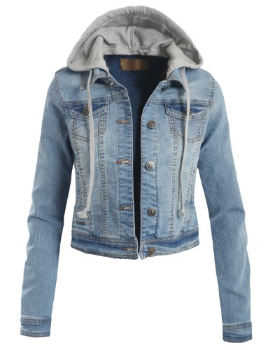 LE3NO Womens Denim Jacket with Detachable Hoodie | Apparel in the ...