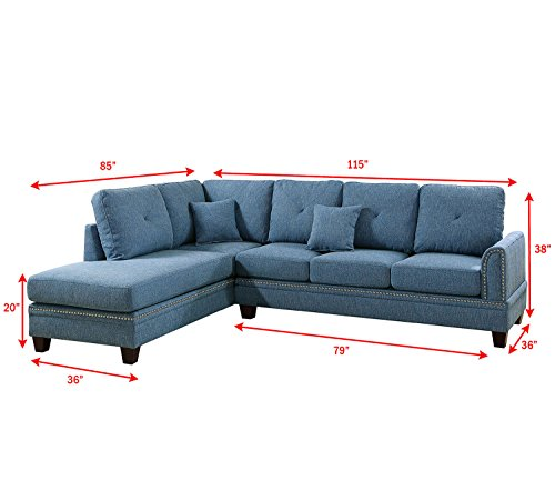 Poundex PDEX- Sectional Set, Blue - Nailhead accent on Arm and Seat frame Seat Cushion Filled with foam and inner Spring for durability and comfort Interlocking insert to keep all pieces together - sofas-couches, living-room-furniture, living-room - 41EoJFNuuUL -
