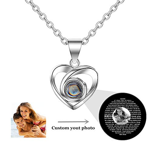 (Jumping Birthstone Customized Photo Projection Necklace Present with 100 Languages Confession of Love Stone Pendant Necklace (Silver Black and White 18))
