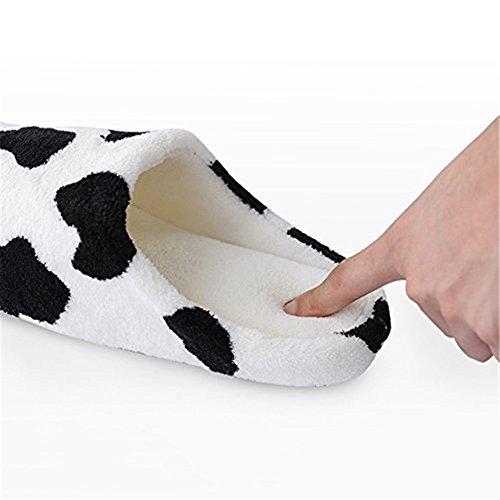 Cosanter Slippers XL Women Milk Cows Spot Flannelette Sleep Shoes For Winter Indoor CsoFcjF
