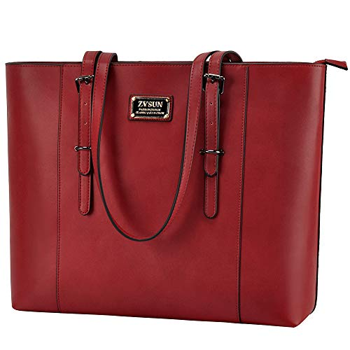 ZYSUN Laptop Bag, Fashion PU Leather Women Work Tote Fits up to 15.6 in Laptop with Multi-Compartment for Office School Awesome ()