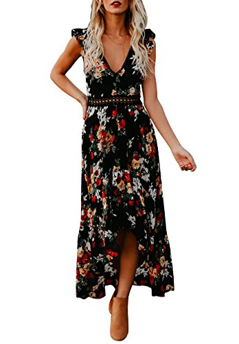 Bbalizko Womens Sleeveless Long Party Dress Floral Print Embroidered High-Low Hem Maxi Dress, Black, X-Large - Embroidered Maxi
