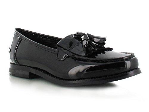 Mujer Zapatos Plano Casual Oficina Escuela Borla Zapato Oxford negro patente