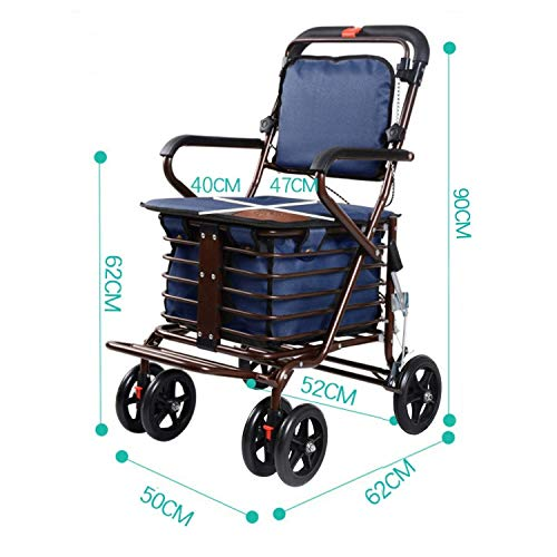 Rollator Walker Petite,with Fold Up Removable Back Support with Seat and Lower Basket Lockable Brake Auxiliary Walking Safety Walker (Color : Blue) by YL WALKER (Image #2)
