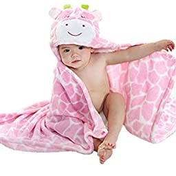 Kids Blanket, Priors Cute Baby Blanket Kids Blanket with 1 Baby Headbands with Flower (Pink Cow)