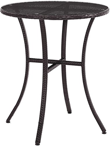 Crosley Furniture Palm Harbor Outdoor Wicker Bistro Table with Glass Top - Brown