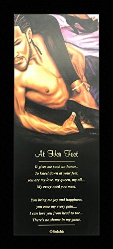 US Art Black 1.5 inch Framed with AT HER FEET, (AFRICAN AMERICAN ART/ROMANTIC/COUPLE/2183C) VALENTINE COLLECTION 8x20 Inch FRED MATHEWS/SHAHIDAH, AFRICAN AMERICAN ART Print Poster
