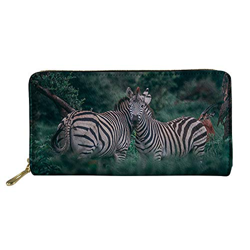 - doginthehole Women Travel Wallet Long Coin Purse Clutch Cell Phone Case Zebra Printing