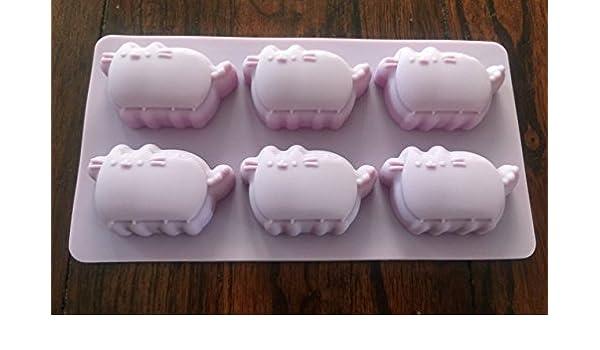 Pusheen de gato silicona bandeja de hielo Candy Chocolate Fondant molde fiesta de cumpleaños de suministro: Amazon.es: Hogar