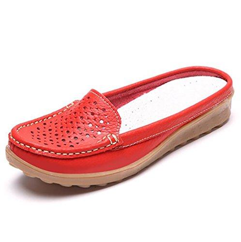 SHANGXIAN Traspirante 7 Famiglia Donna 5 5 EU37 Pelle Casuale US6 UK4 Scarpe Blue Red Scarpe 5 CN37 Estate Pantofola Appartamenti Otr0tqa