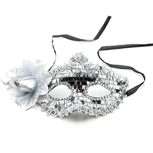 Masquerade mask for Women Lace Mask Shiny Glitter Party mask Venetian Masquerade Half face Mask (Silver)