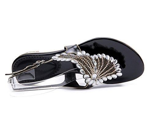 De Negro Correa Diamante Sandalias Chancletas En Bohemia Playa Zapatos Verano Nvxie Plano T Imitación Mujer Señoras wfqnUCzZ