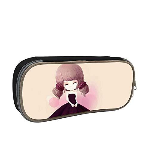 Box St4 (Dress girl Pencil case Pen Bag Makeup Pouch student large capacity zipper multifunction Black)