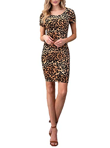 Simply Savvy Co Stylish Leopard Cheetah Animal Print Midi Dress Gown for Women (M) -