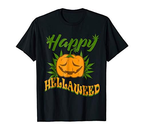 Happy Hellaweed Marijuana Halloween Weed T-shirt Funny