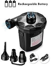 JOLVVN Elektrische Luftpumpe wiederaufladbare Elektropumpe, Power Pump mit 3 Luftdüse für aufblasbare Matratze, Kissen, Bett, Boot, Schwimmring, DC 12.6V/AC220V