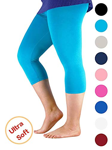 Century Star Womens Plus Size Elastic Waist Cotton Basic Solid Capri Leggings