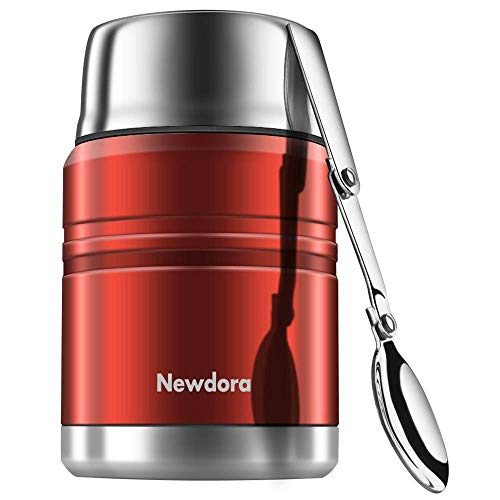 Newdora Insulated Stainless Steel Food Jar with Folding Spoon, Braised Beaker, Bag-Vacuum Double Walled BPA Free,Unbreakable,Leak Proof 17 ounce(Red)