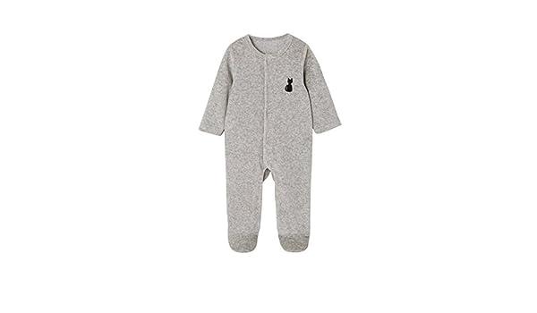 VERTBAUDET Pijama para bebé de terciopelo orgánico y espalda fantasía GRIS CLARO JASPEADO PREMATURO - 45CM: Amazon.es: Bebé
