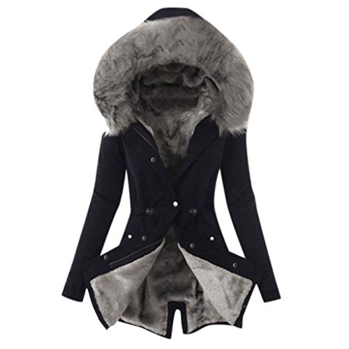 UJUNAOR Windproof Women Parka Coat Jacket with Hood Hooded for Elegant Lady Black Fur or Faux Fur Zip Pockets Softshell…